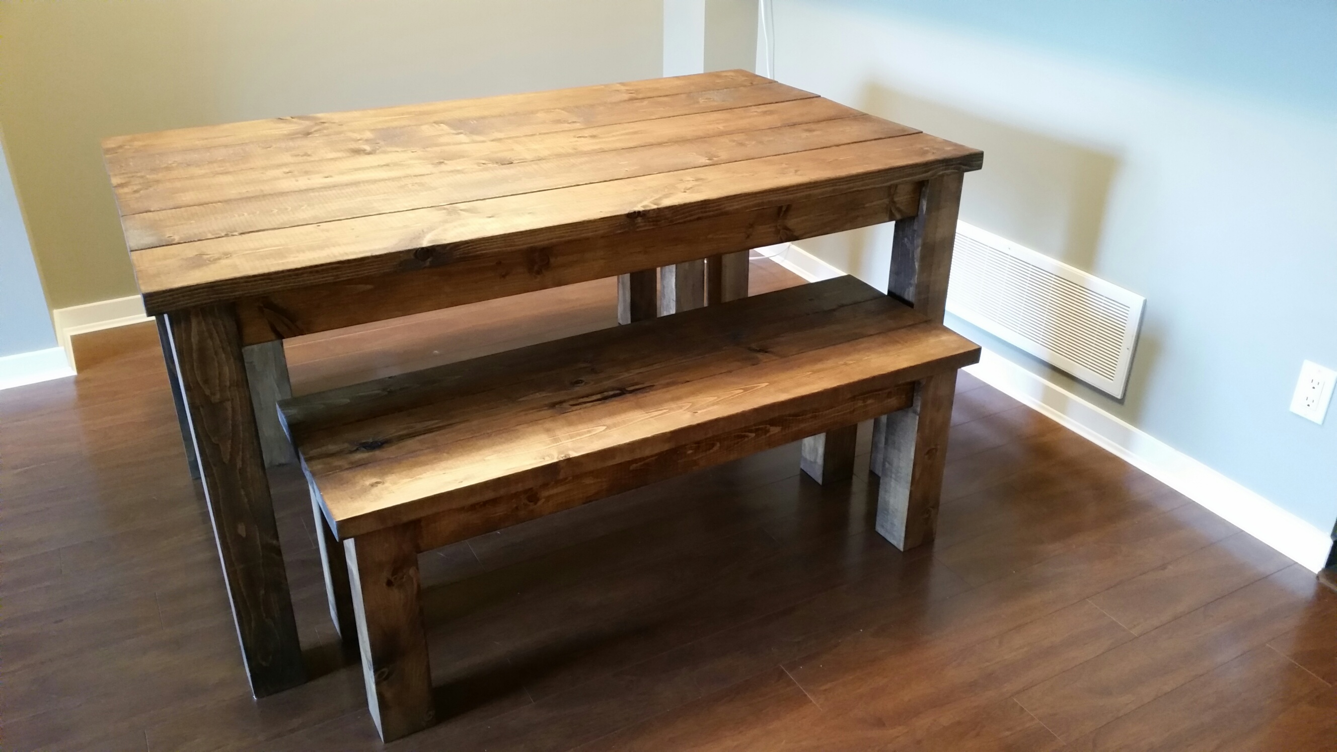 Provincial Pine Table And Bench Set1
